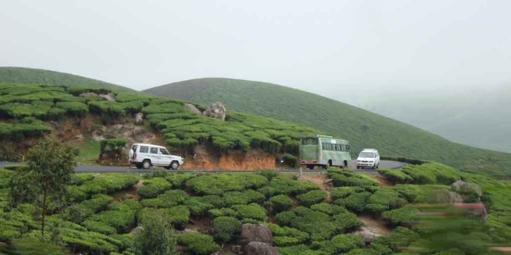 Cars drivig along a road on a lush mountainside.
