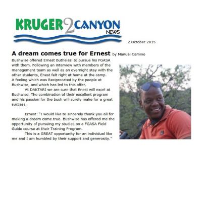 A dream comes true for Ernest
