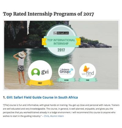 Top Rated Internship Programs of 2017