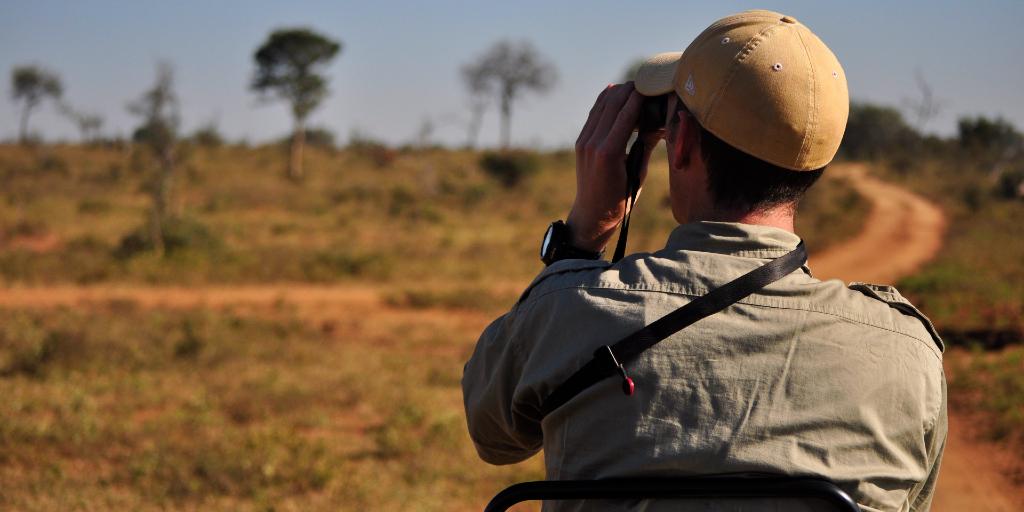 A wildlife ranger observes the bushveld.