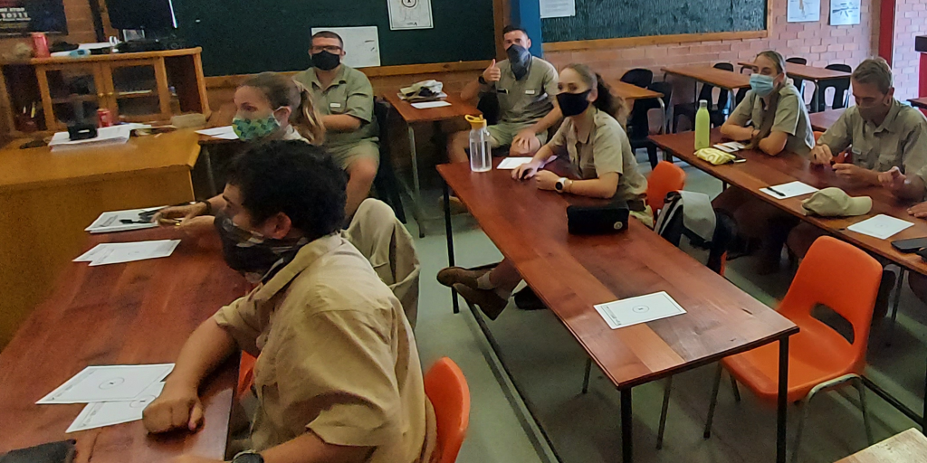 Field guide students preparing for an exam