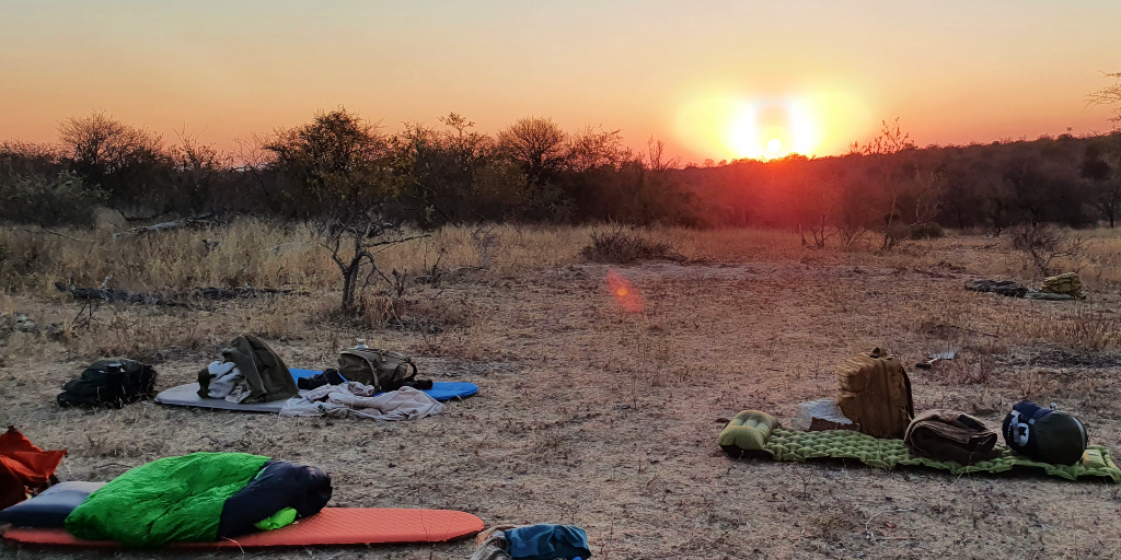 Sleeping gear set up for a night in the bush